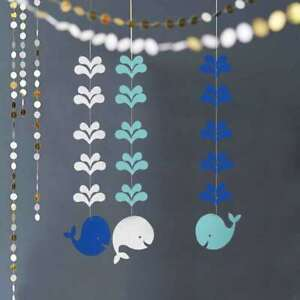 Whale Bunting Paper Garland Birthday Baby Shower Party Kid Room Decoration