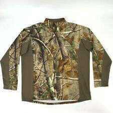 Realtree Camouflage Thin Hunting Shirt Men's Size XL 1/4 Zip Long Sleeve Stretch