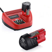 For Milwaukee M12 12V Red Lithium Ion Battery 48-11-2401 & Charger 48-59-2401