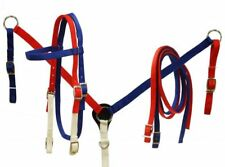 SHOWMAN WESTERN HORSE RED WHITE BLUE BRIDLE HEADSTALL W/ BREAST COLLAR PLATE