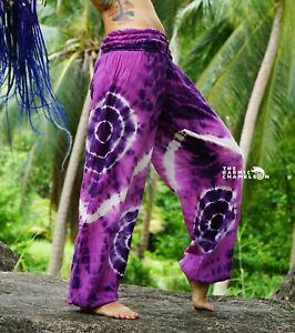 Tie Dye Harem Pants Hippie Pink Purple Yoga Festival Comfy Boho Gypsy Loose Fun