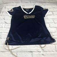 NFL St. Louis Rams football women's shirt v-neck bling blue size large