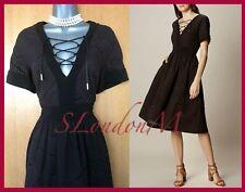KAREN MILLEN UK 8 Black Tie Lace A Line Broderie Anglaise Folkloric Cotton Dress