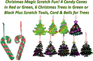 🎄Magic Scratch 4 Candy Canes & 6 Christmas Trees Different Colors! 15% OFF $35+