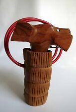 Vintage Carved Dog w/Glass Eyes in Basket Corkscrew Mid Century Danish Modern