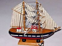 DECOR WOOD SAILING BOAT HANDBUILT NAUTICAL MODEL DECOR HOME COLLECTIBLE