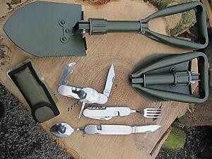 Outdoorset KLAPPSPATEN + Edelstahl Essbesteck Messer BW Bundeswehr Camping Jagd