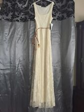 New Zara Lace Cream Wedding Long Party Dress Ball Gown