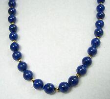 "14k Yellow Gold 585 8mm Lapis Lazuli Beaded 30"" Necklace"
