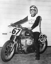 OLD LARGE MOTOR RACING PHOTO, Jack Gholson & his Harley Davidson motorcycle 1959