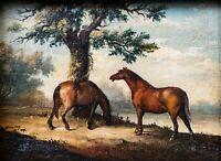 Unbekannter Künstler/unleserlich signiert - Pferde - Öl auf Holz - 19. Jh.