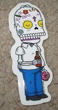 "HOMER SIMPSON MUERTO Art Sticker Print 1.5 X 4"" DIA DE LOS muertos JOSE PULIDO"