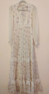 Vintage 70s Gunne Sax Dress Calico Floral Prairie Ivory Lace Pearl Corset Maxi S