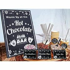 Hot Chocolate Bar Kit Luxury Supplies -Sign Labels Tags,Table Cards,Spoons And