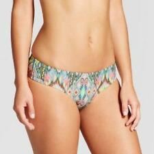Xhilaration Wide Side Super Cheeky Bottom Swim Bikini Size L Multi Print New A1P