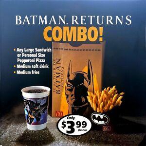"vintage 1992 McDonald's 22 x 22"" BATMAN RETURNS combo translite large sign"