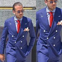 Mens Wedding Suits Bridegroom Double-Breasted Peak Lapel Groom Groomsmen Tuxedos