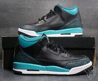 Air Jordan 3 Retro Jaguars 441140-018 Rio Teal Black Shoes Youth Sz 7.5 Wmns 9