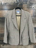 Vintage Pendleton Women's Tan Black Red Plaid 100% Virgin Wool Blazer Jacket