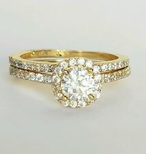 1.7 ct 14K yellow Gold 2 piece round Halo  Engagement Wedding Ring band Set s6.5