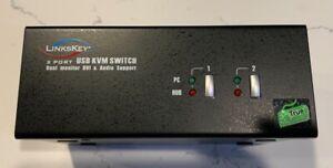 Linkskey 2-Port KVM Switch Dual Monitor DVI & USB AUDIO P/N: LDV-DM202AUSK