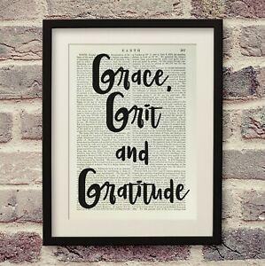 Vintage Encyclopedia Print Grace,Grit and Gratitude Typography Antique Book