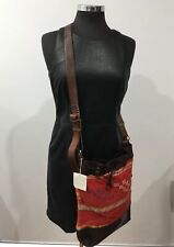 Handmade Designer Vintage Tribal Hippie Style Red Leather Crossbody Handbag Bag