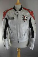HEIN GERICKE PSX SILVER, RED & BLACK LEATHER BIKER JACKET WITH CE ARMOUR 44 INCH