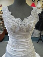 4179 WHITE EMBROIDERED LACE w/TRAIN MORILEE Bridal Gown Dress Size 6 $1275-ORIG