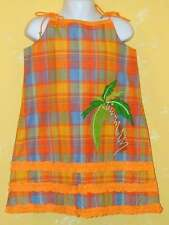 NWT MICHAEL SIMON Orange Check Plaid Ruffles Palm Tree Dress Hat 2pc Set 6