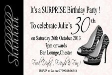 10  Surprise Birthday Party invites 18th 21st 30th 40th 50th