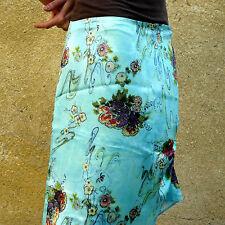 PAOLA CALDARINI Gonna in seta stampata floreale colore verde acqua Made in Italy