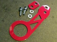 Stainless steel rear tow hook / eye, Universal fit, JDM style, red powdercoated