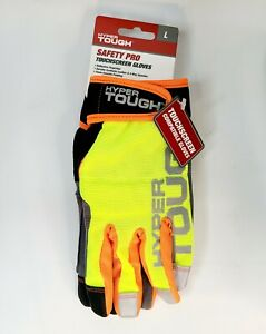 Safety Pro Touchscreen Work Gloves, Reflective, Foam Knuckle Padding, Size Large