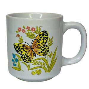 Vintage White Butterfly & Flowers Coffee Cup Mug