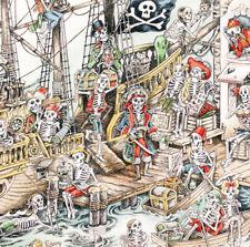 1 M Alexander Henry Fabric skelewags, Naturel Par Mètre Rétro Squelette Pirate
