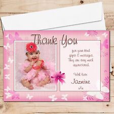10 Personalised Girls Butterfly Birthday Party Gifts Thank you PHOTO Cards N134