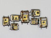 Modernes Metallbild abstrakte Rechtecke braun silber gold 35x77cm Wanddekoration