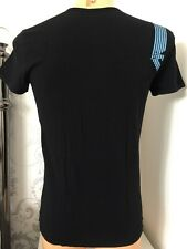 Emporio Armani Metallic Blue Logo Black Tee Sizes S-xl With Tags