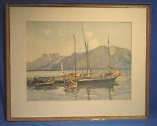 Lithografie,koloriert, Segelboote am Genfer See, Hintergrund Dents du Midi