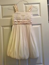 Girl's Party Dress - Size 10 (Cream/Gold Color)