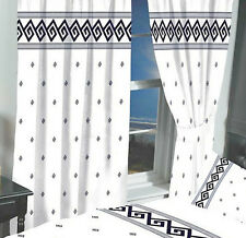 "66"" x 72"" ATHENS GREEK KEY READY MADE PENCIL PLEAT CURTAINS BLACK WHITE LUXURY"
