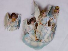 Lot of 2 Embossed Die-Cut Christmas Archangles Trumpets Pan Flute Angels L20