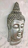 Large Grey Silver Pewter Effect Thai Buddha Head Home or Garden Wall Art DF17618