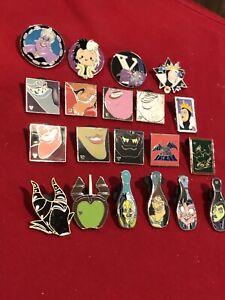20 Disney pins Assorted Villains   As Seen Lot x
