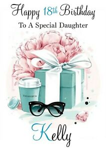 Personalised Birthday Card Tiffany Co. Inspired any name/relation/age