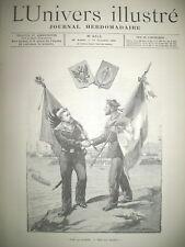 MARINE RUSSE ET FRANCAISE VERCINGETORIX AU THEATRE CHASSE LEOPARD GRAVURES 1893