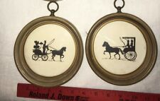 Vintage Silhouette horse and buggy carriage in Round Frame set of 2 VTG