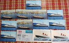 Collection of Cunard RMS Queen Mary, Queen Elizabeth, QEII Postcards and Stamp