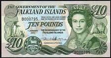 2011 Falkland Islands £10 Pounds Banknote * B 000795 * UNC * P-18 *